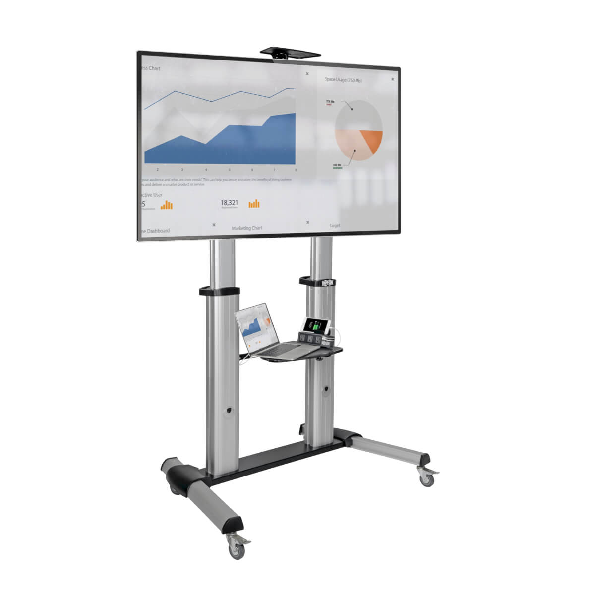 dmcs60100xx mobile flat/curved panel floor stand for 60 to 100 inch tvs and monitors