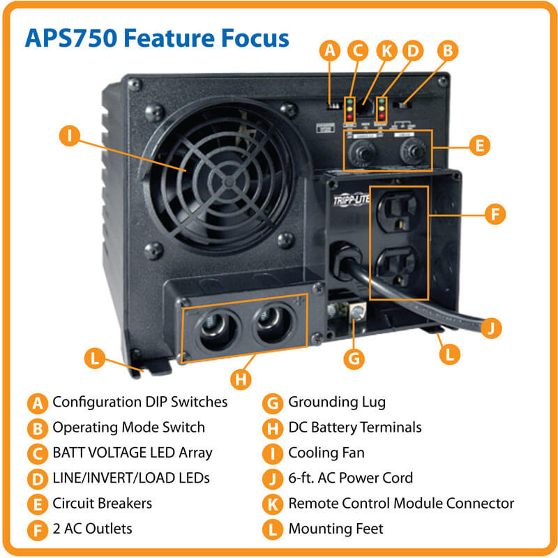 750w powerverter aps 12vdc 120v inverter charger auto transfer rh tripplite com Tripp Lite UPS Tripp Lite Power Supply