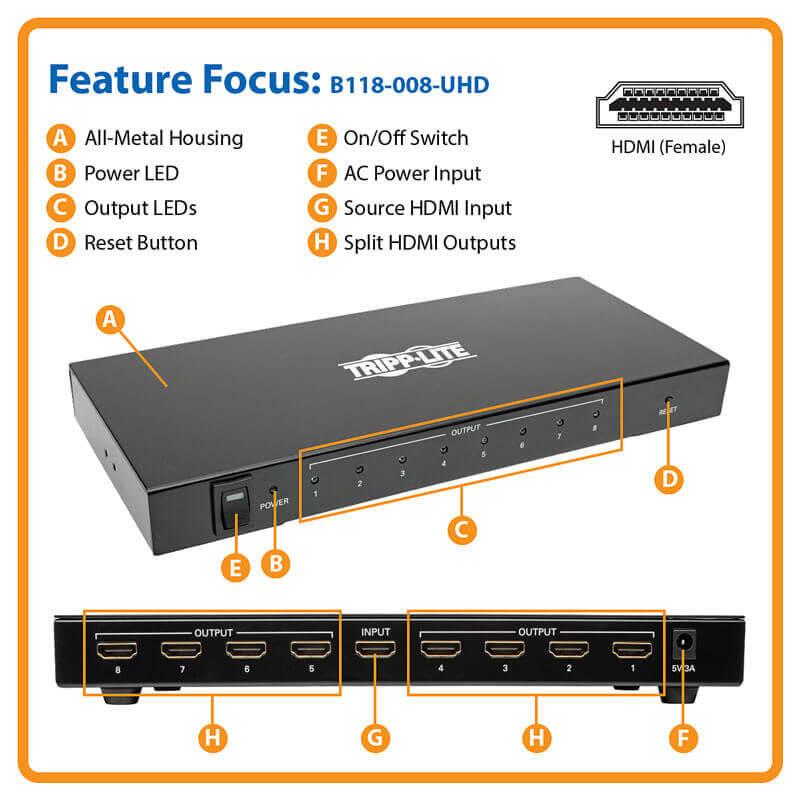 4K HDMI Splitter Ultra HD 4Kx2K Video Audio 3840x2160 8 Port