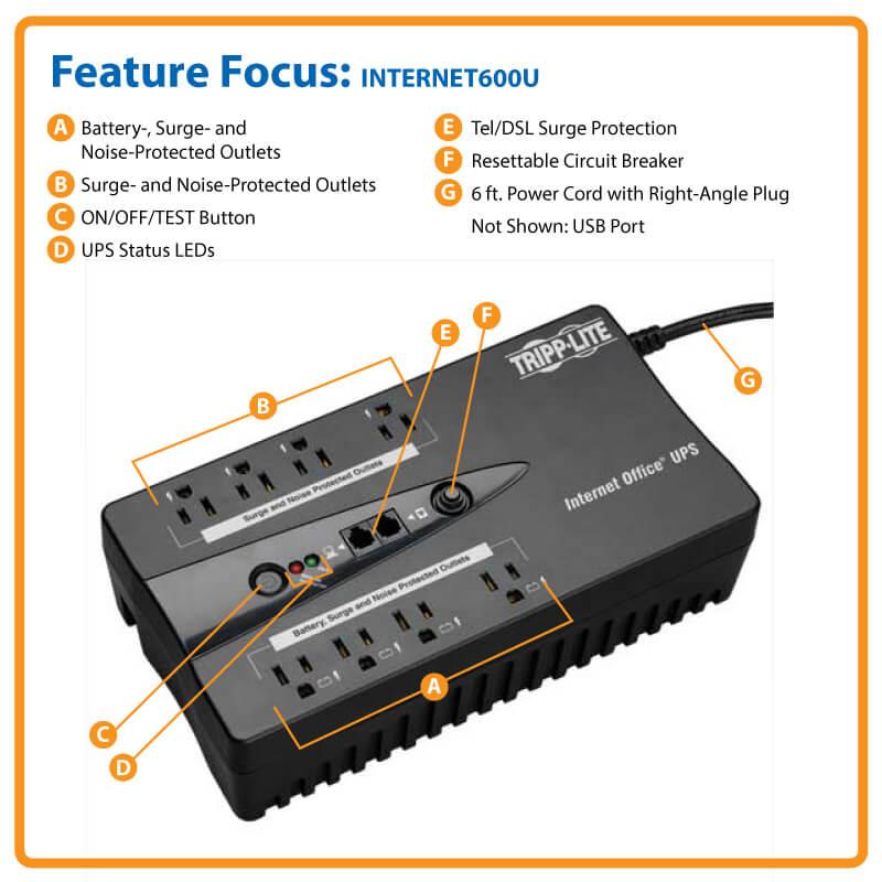 internet office 120v 600va 300w standby ups ultra compact desktop rh tripplite com Tripp Lite to SATA Tripp Lite Cable