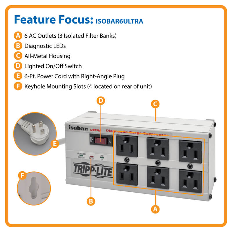 Stupendous Isobar 6 Outlet Surge Protector 6 Ft Cord 3300 Joules Diagnostic Wiring Cloud Oideiuggs Outletorg