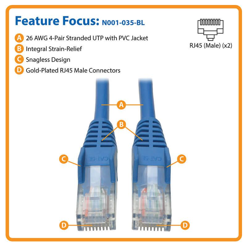 Tripp Lite Cat5e 350MHz Snagless Molded Patch Cable RJ45 M//M N001-004-BL 4-ft. - Blue