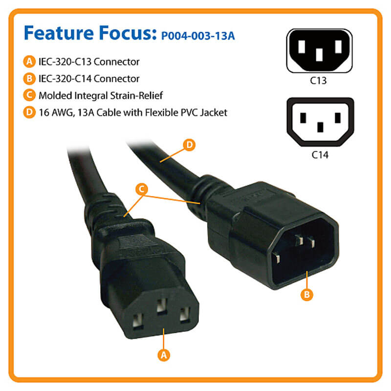 C14 to C13 Computer Power Extension Cord, 13A, 16 AWG, 3 Ft, Black ...