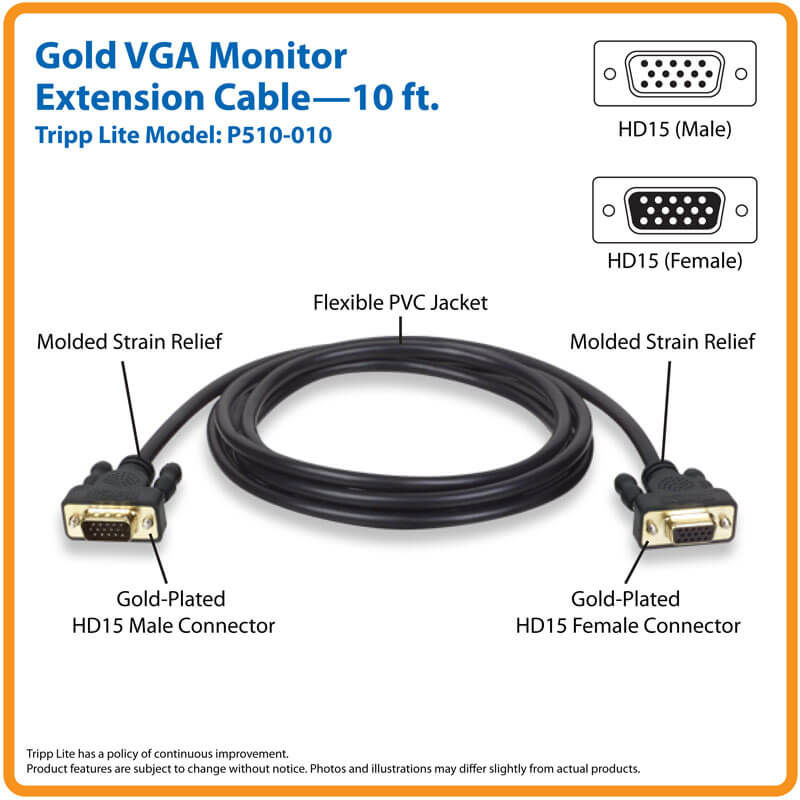 HD15F SVGA NEW Gold HD15M VGA Monitor Extension Cable 10 Ft