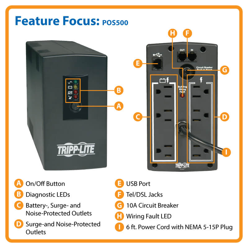 POS Series 120V 500VA 300W Standby UPS Tower USB port 6