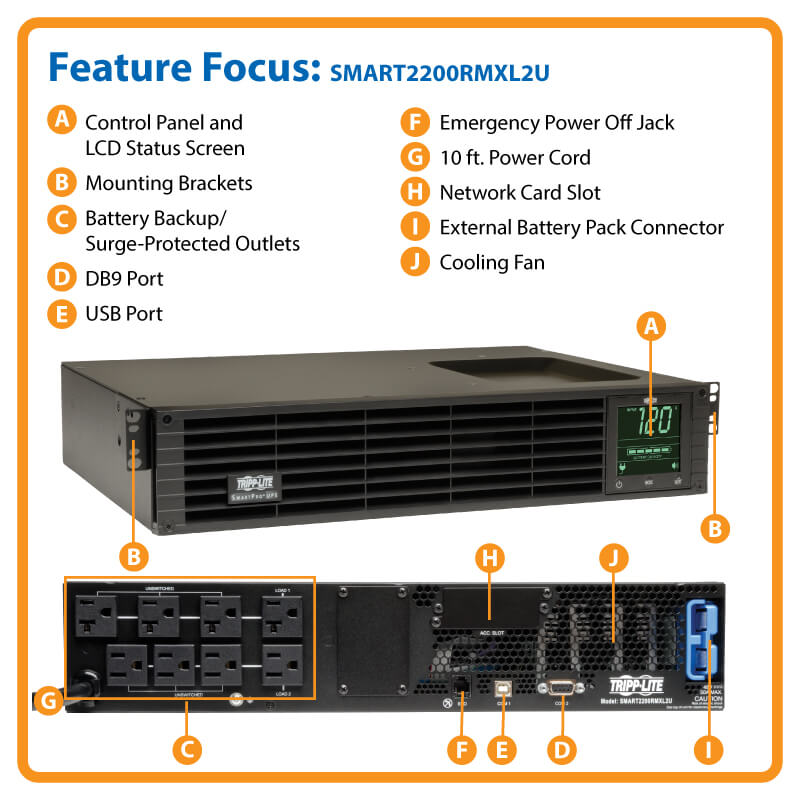 SmartPro 2 2kVA UPS, Line-Interactive, Sine Wave, 2U, Extended Run