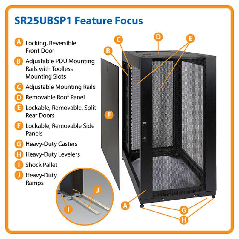 25u Smartrack Stand Depth Rack Enclosure Cabinet Doors