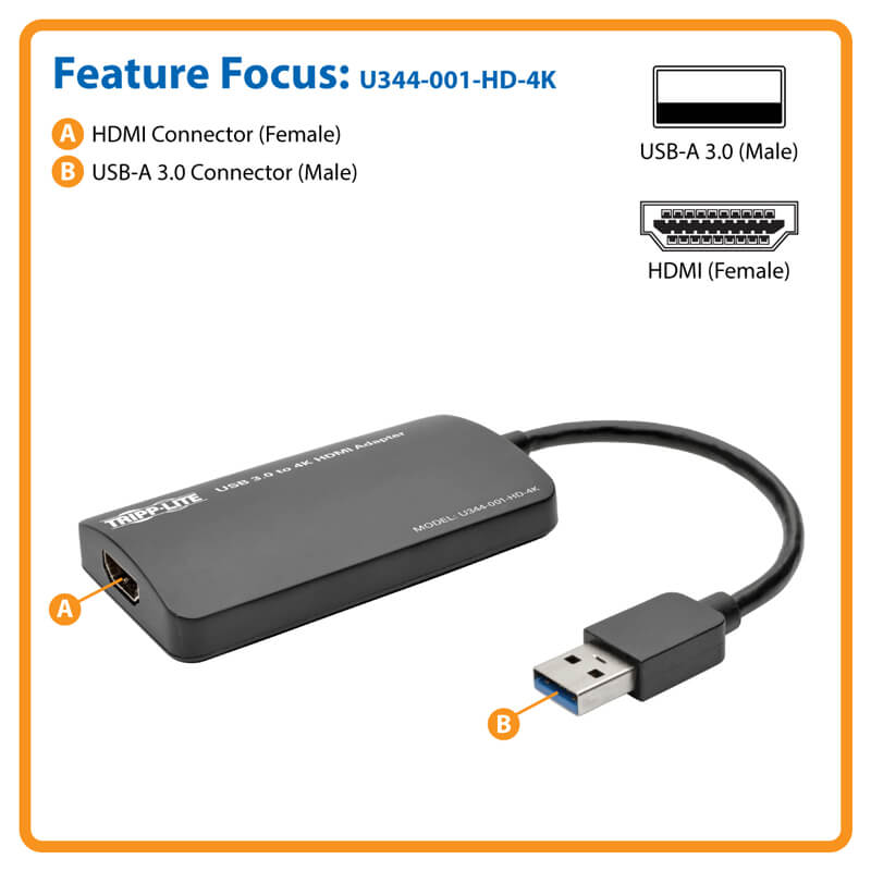 U344-001-HD-4K 4K X 2K Tripp Lite USB 3.0 SuperSpeed to HDMI Dual-Monitor External Video Graphics Card Adapter 512 MB SDRAM