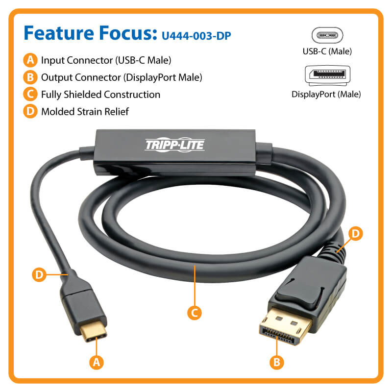 USB-C to Displayport Cable, 4k, Thunderbolt 3, 3ft | Tripp Lite
