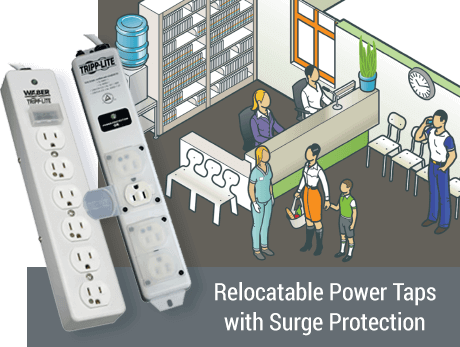 Relocatable power taps with surge protection for use in administrative areas