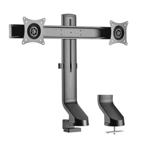 Dual Display Monitor Mount Desk Clamp Height Adjustable 17 To 27 Inch Screens Tripp Lite