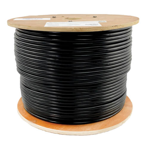 1000 FT Bulk Cat 5e Plenum Solid Rated 350 Mhz Cable in White Blue and Black