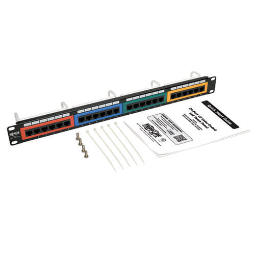 24 port 1u rack mount 110 type color coded patch panel